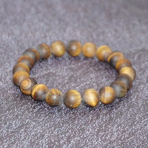 Men's Matte Tiger-eye Stone Balancing Stretch Bracelet