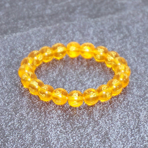 Women's Om Mani Padme Hum Mantra Glass Stretch Bracelet - Orange