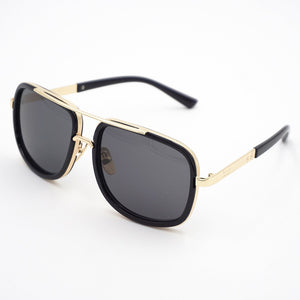 Flex Gold Trimmed Rectangular Black Sunglasses