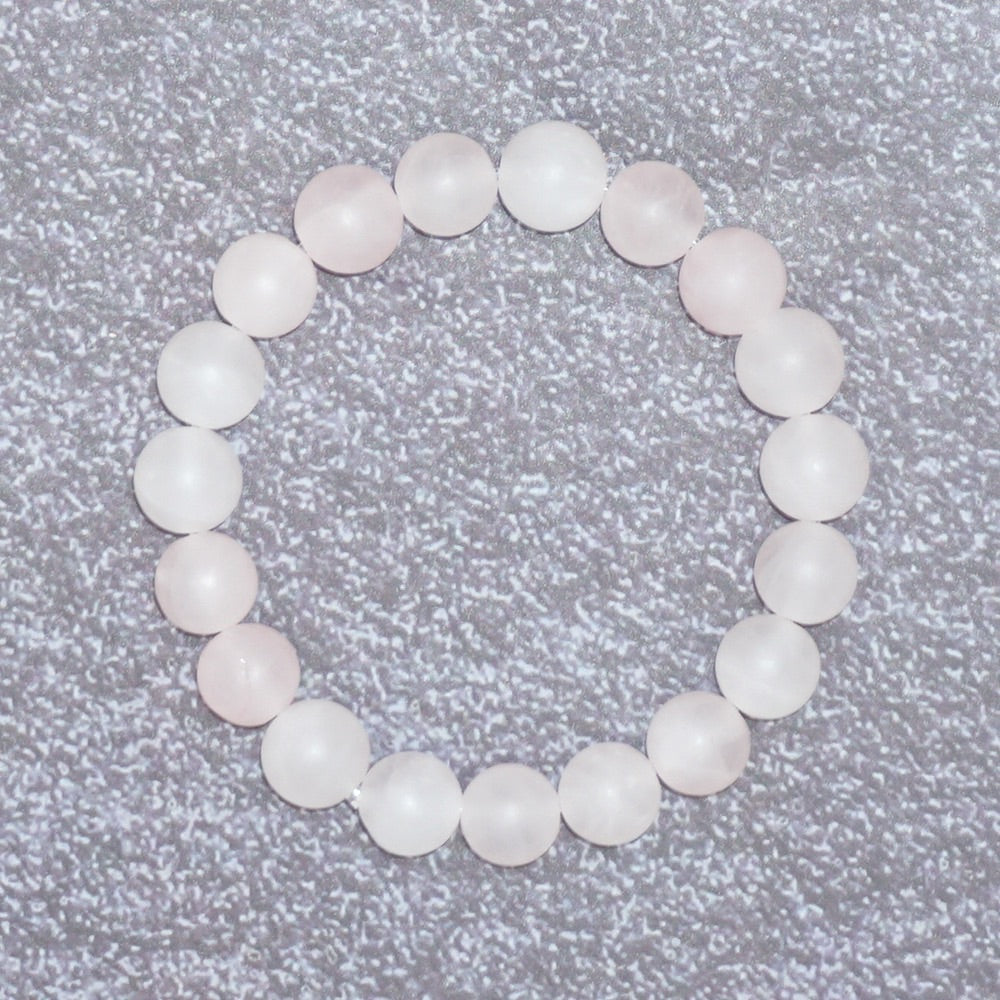 Women's Matte Rose Quartz Stone Balancing Stretch Bracelet