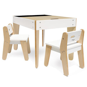 Kids' Reversible Chalkboard Table and Chairs with Storage - White