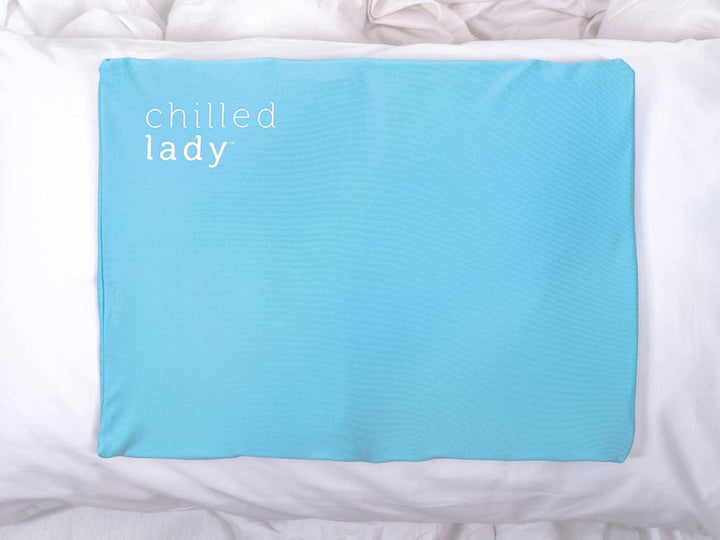 Showing the Chill Pillow cooling gel pad insert dimensions on the pillow