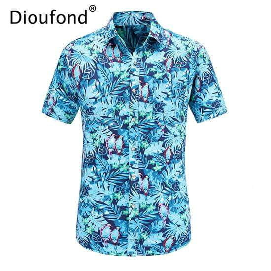 401c1ad0 Men Shirt Dioufond Summer Short Sleeve Pink Flamingo Print Hawaiian Shirt  Casual Beach Shirts Men Floral Button Down ...