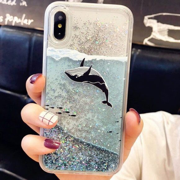 Whale Liquid Glitter iPhone Case Cover - Slime Kitty
