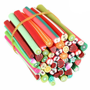 50 Fruit Sticks - Polymer Clay / Fimo Cane Sticks - Slime Kitty
