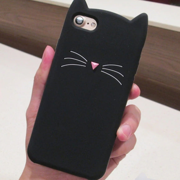 Cat iPhone Case Cover Soft Silicone Pink/Black - Slime Kitty
