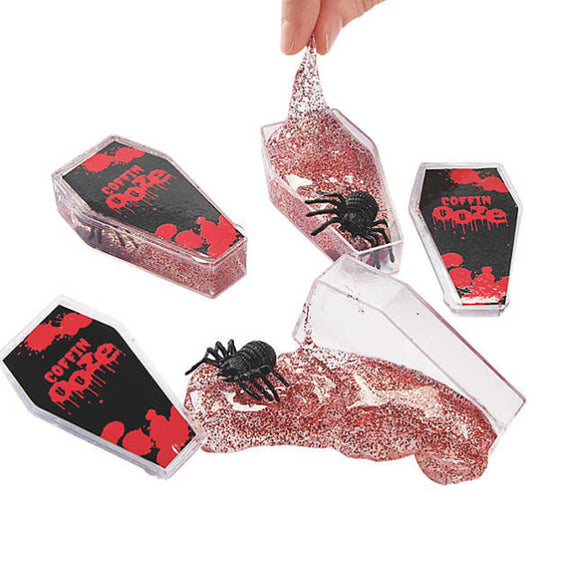 Coffin Clear Slime Putty Ozze w/ Spider & Red Glitter 1 Piece - Slime Kitty