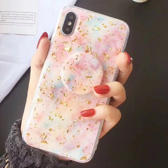 Confetti Marble iPhone Case Cover w/ Gold Flakes - Slime Kitty