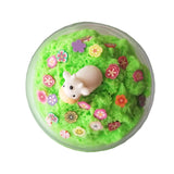 Cow in a Field Green Apple Scented Slime Cloud Handmade Charm and Fimo Slices - Slime Kitty
