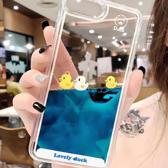 Floating Duck Liquid iPhone Case Cover - Slime Kitty