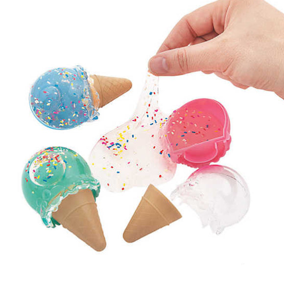 Ice Cream Cone Clear Slime Putty w/ Sprinkles 2 Pack - Slime Kitty