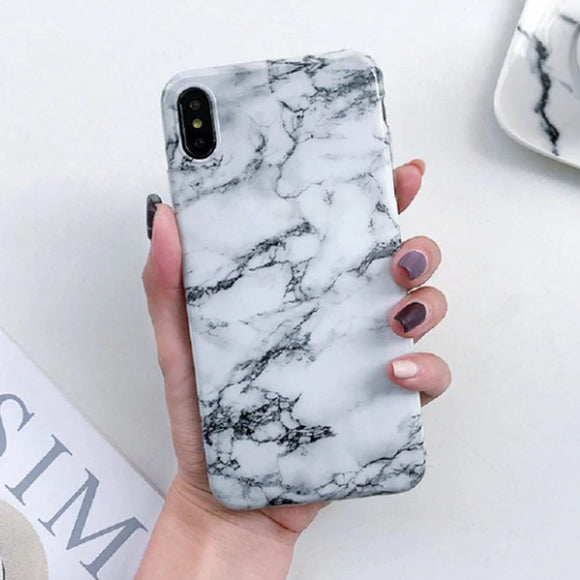 Marble Whitee & Black iPhone Case Cover - Slime Kitty
