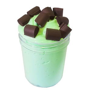 Mint Chocolate Chip Fluffy Butter Scented Slime - Slime Kitty