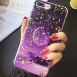 Purple Galaxy Glitter Flakes iPhone Case Cover - Slime Kitty