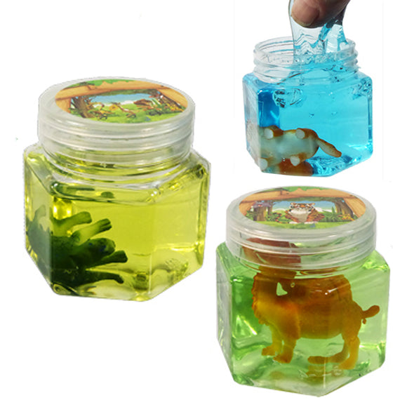 2 Safari Animal Slime Putty - Stretchy Clear - Slime Kitty