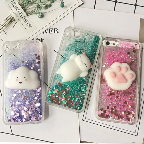 Squishy 3D iPhone Liquid Glitter Case Cover - Slime Kitty