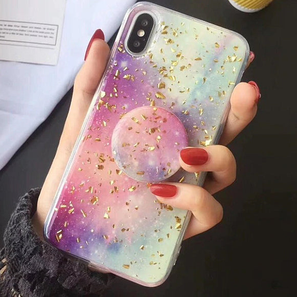 Unicorn Galaxy iPhone Case Cover Gold Flakes - Slime Kitty