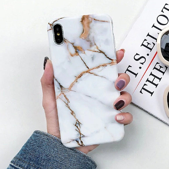 Marble White & Gold iPhone Case Cover - Slime Kitty