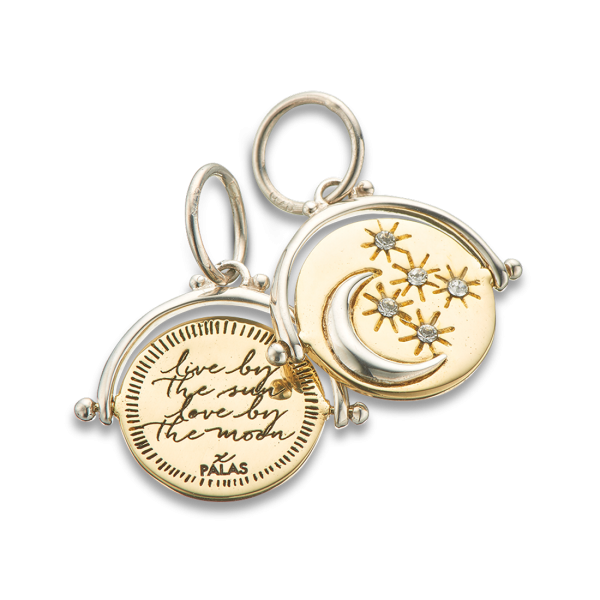 Live by the sun love by the moon spinner charm