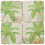 Palm Green  Resin Drink Coasters set of 4