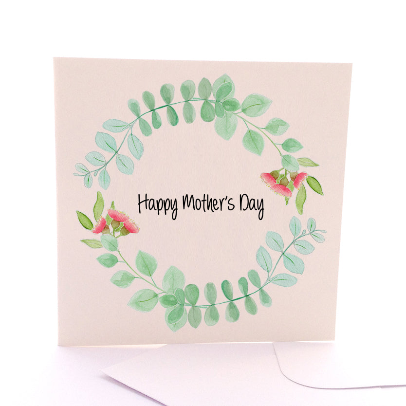 Mothers Day Eucalyptus Wreath Card Large