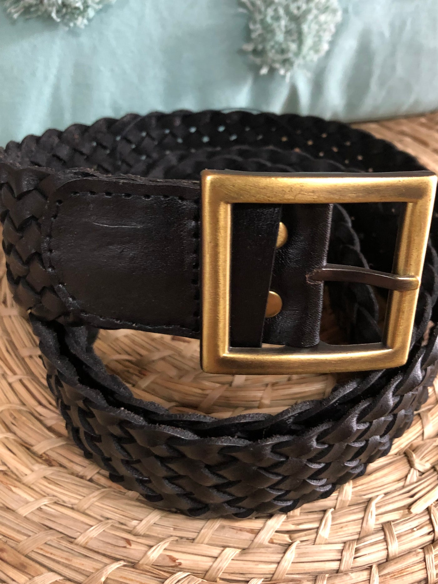 Poppi Black Plaited Belt- Square Buckle