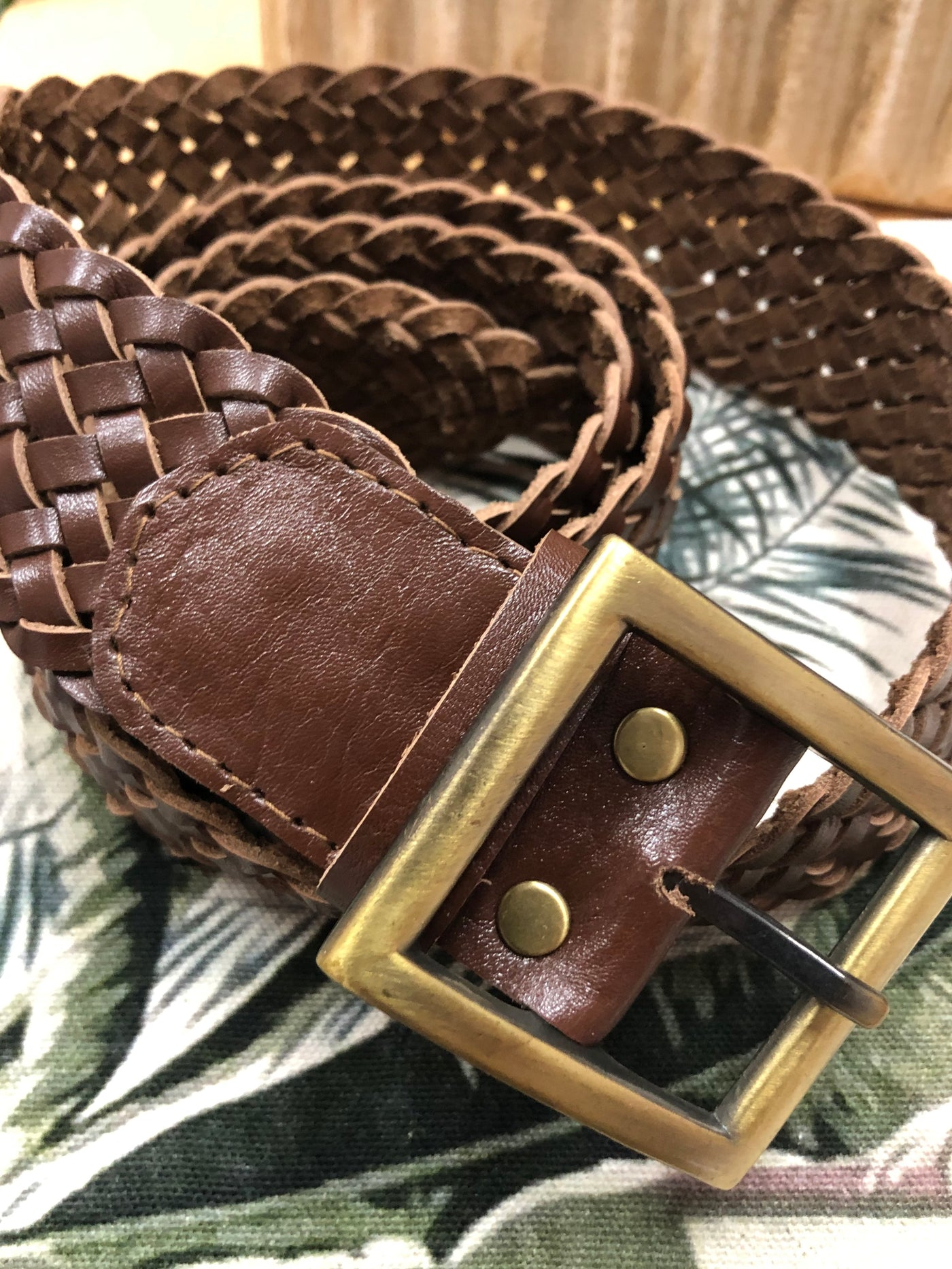 Poppi Dark Brown Plaited Leather Belt