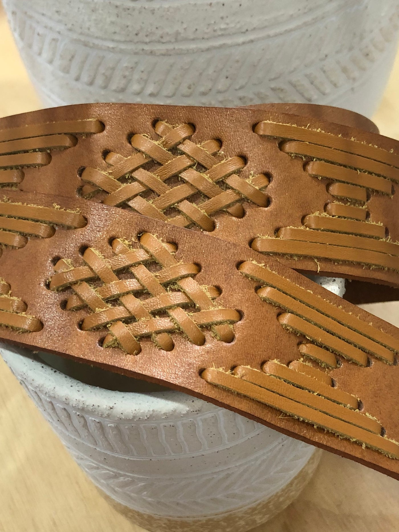 Tan Woven Leather Belt