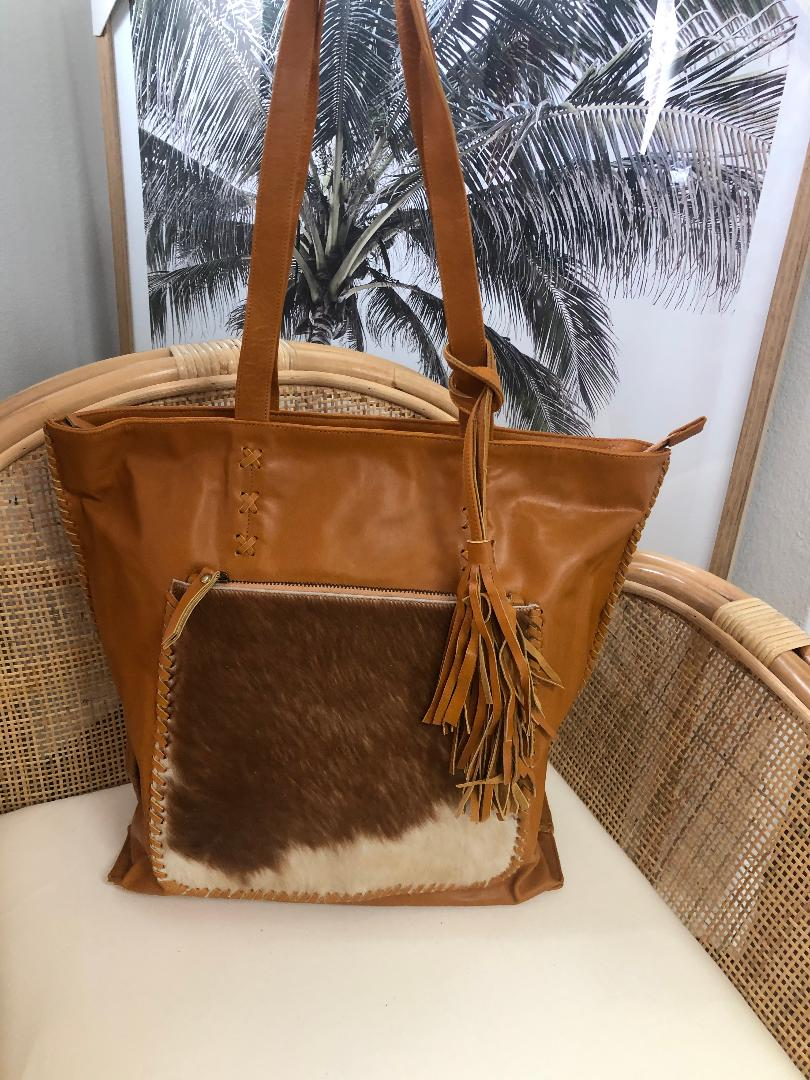 Cowhide Leather Tote With Tassels