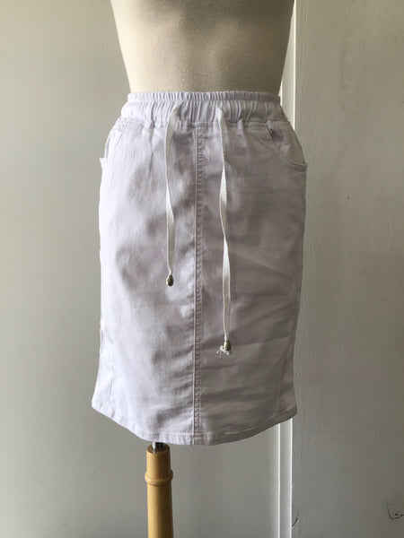 Ava Denim Skirt-White