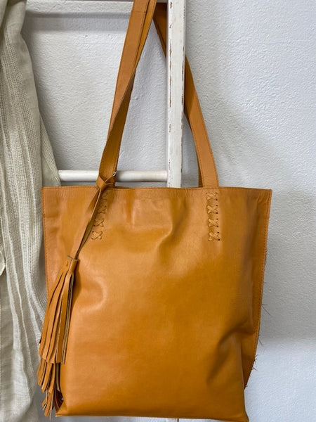 Tassel Tote Leather Bag