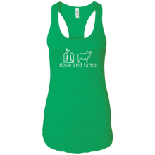 dove and lamb white logo Ladies Racerback Tank