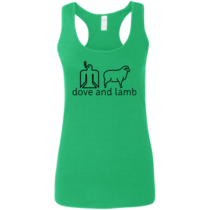 dove and lamb black logo G645RL Gildan Ladies' Softstyle Racerback Tank