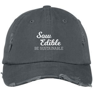 se be sustainable white distressed hat