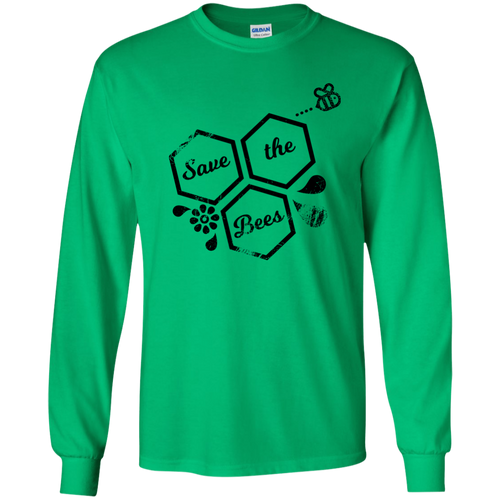save bees Gildan Youth LS T-Shirt
