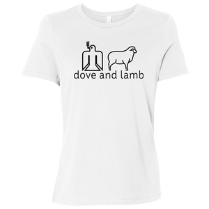 dove and lamb black logo B6400 Bella + Canvas Ladies' Relaxed Jersey Short-Sleeve T-Shirt