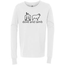 dove and lamb black logo 3501Y Bella + Canvas Youth Jersey LS T-Shirt