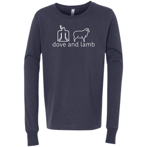 dove and lamb white logo Bella + Canvas Youth Jersey LS T-Shirt