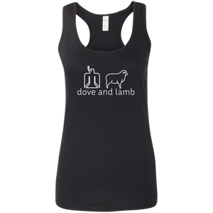dove and lamb white logo Ladies Softstyle Racerback Tank