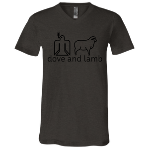dove and lamb black logo 3005 Bella + Canvas Unisex Jersey SS V-Neck T-Shirt