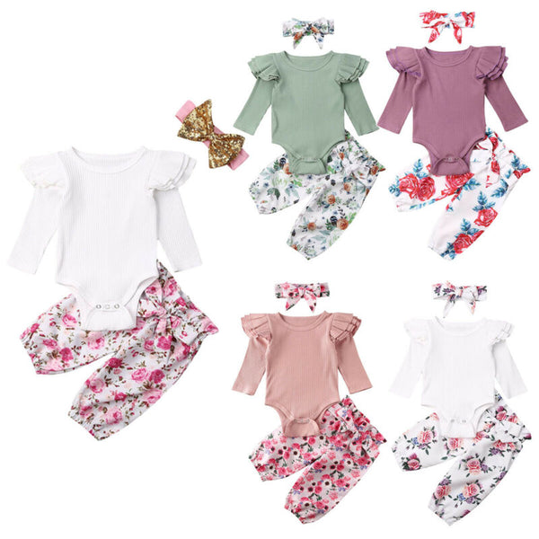 Pudcoco USPS Fast Shipping 0-24M Newborn Infant Baby Girls Tops Romper Floral Pants Outfits Set Clothes - Pekablu