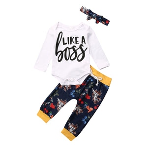Pudcoco USPS Fast Shipping 0-24M 3PCS Newborn Baby Girl Boy Winter Clothes Outfits Warm Romper+Floral Pants Set - Pekablu