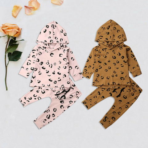Pudcoco USPS Fast Shipping 0-24M Leopard Infant Baby Girl Clothes Set Cotton Hooded Tops Leggings Pants Casual Clothes Set