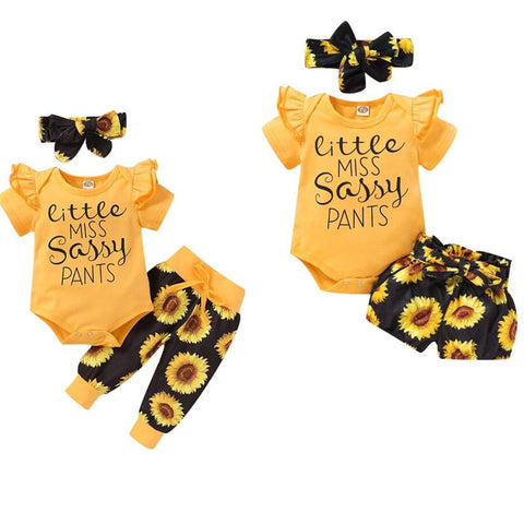Pudcoco USPS Fast Shipping 0-24M 3Pcs Newborn Baby Girl Clothes Set Print Sunflower Short Sleeve Romper Pant Sassy Cotton Outfit - Pekablu