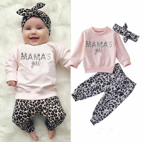 Pudcoco USPS Fast Shipping 0-24M Summer Newborn Baby Girl Clothes Set Winter Sweathirt Pants Trousers Headband Outfit