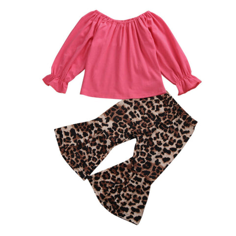 Pudcoco USPS Fast Shipping Toddler Baby Girls Off Shoulder Clothes Long Sleeve Topst Leopard Flared Pants