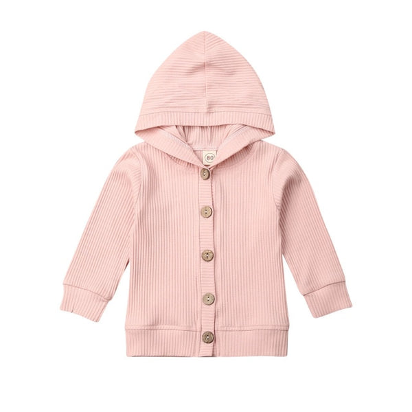 USPS Fast Shipping 0-24M Girls Baby Cardigan Coat Jacket Solid Cotton Long Sleeve Hooded Outwear Solid color Autumn Winter Coats - Pekablu