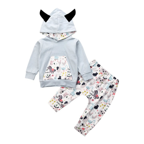 Pudcoco USPS Fast Shipping 0-24M Newborn Baby Boy Girl Kid Animal Printed Hoodie Sweater Top Pants Clothes Set