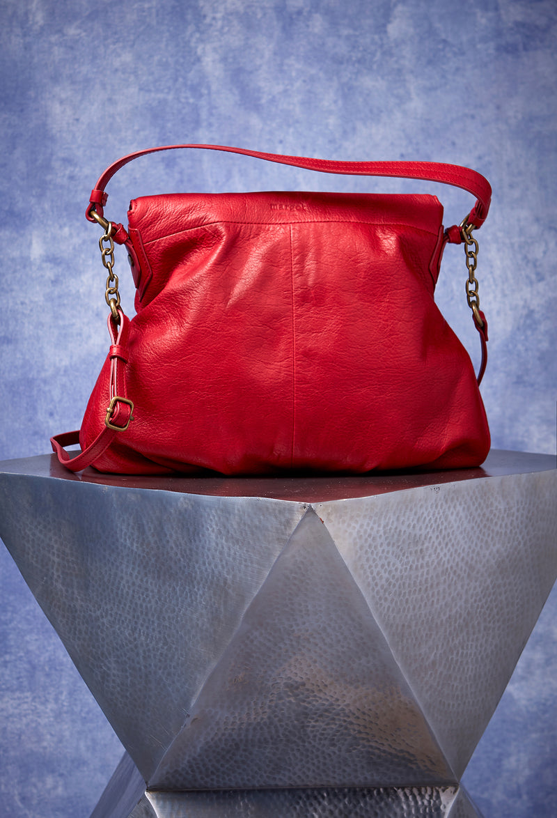 Adelle Hobo with Chain in Cherry Red