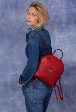 Camille Turnlock Backpack in Cranberry